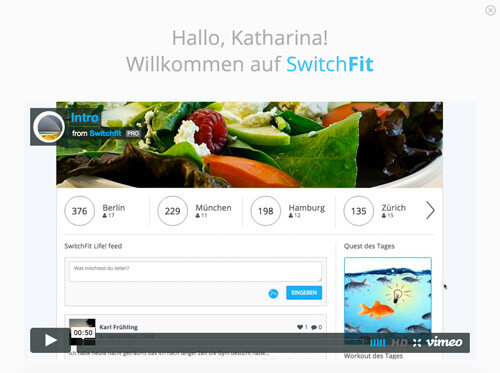 Dashboard mit Intro-Video