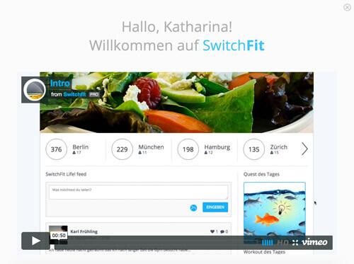 Dashboard mit Intro-Video